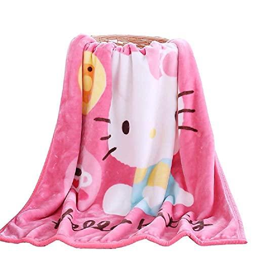 OKlife Throw Blanket Fleece Cartoon Hello Kitty Printing 56'' x 40'' Kid Super Plush Soft Warm for Napping, Couch Chair, Baby Crib, Living Room (Kitty)