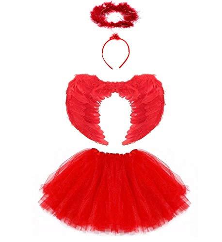 Lizzy Deluxe - Disfraz de tutú de Halloween para niñas (diablo rojo con alas)