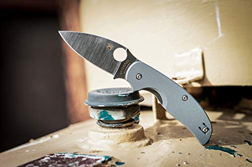 """Spyderco Sage 1 Folding Knife with 3"""" Micro-Melt Maxamet Steel Blade and Cool Gray Peely-Ply-Textured G-10 Handle - PlainEdge - C123GPGY"""