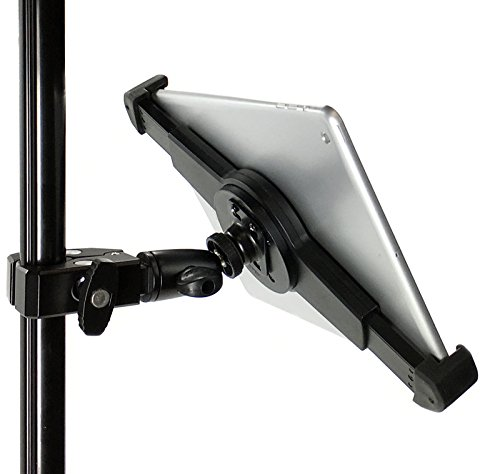iShot G10 Pro Large iPad Pro Universal Tablet Tripod Monopod Mic Music Stand Mount Adapter Holder + HD Metal Pipe Pole Bar Clamp w/ 360° Swivel Ball - Compatible with iPad Pro & 9-13' Tablets