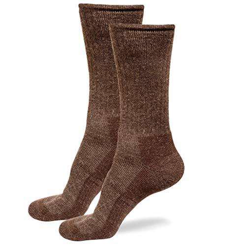 Alpaca Wool Socks for Men & Women Comfortable Casual Outdoors Hiking Boot & Dress Socks (Large, 2x Pairs Brown)