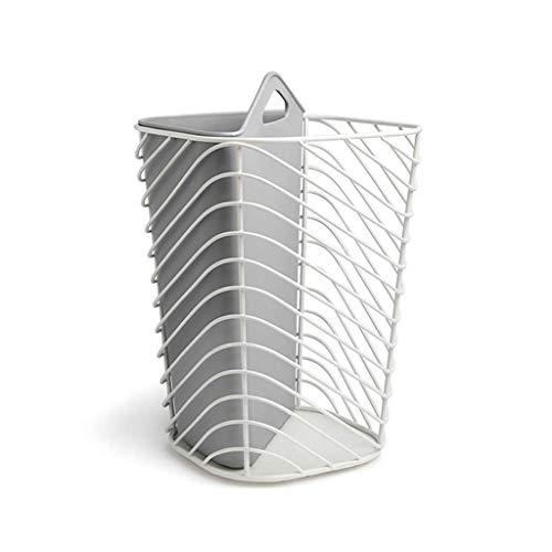 Metalen holle vuilnisemmer droog en natte opslag container oud papier vat 26 16 cm × 12 cm (kleur: grijs)