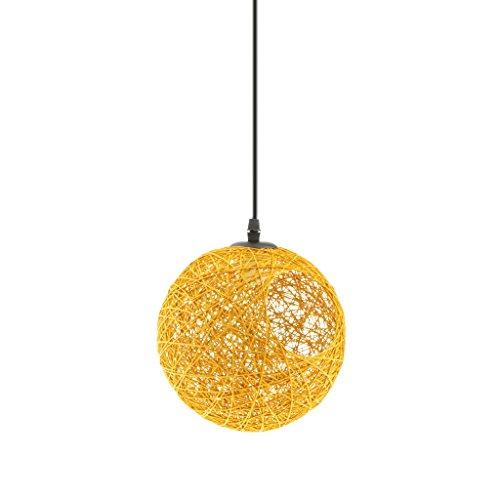 Casa, E27 Sfera Rotonda Willow Ball Plafoniera Paralume, con Foro 20cm, con cavo 80 cm, per lampada a Sospensione Rattan Lampadario Lamshade - giallo