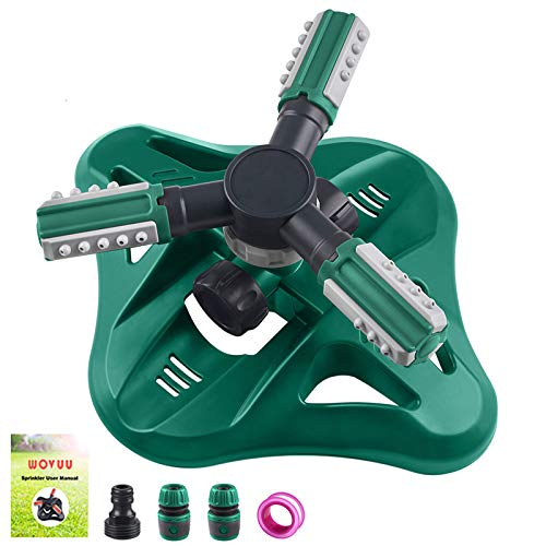 WOVUU Garden Sprinkler,Upgrade Lawn Sprinkler Automatic 360 Degree Rotating Irrigation Sprinkler System, Garden Hose Sprinkler for Yard/Built in 36 Units Angle Spray Nozzles (Green)