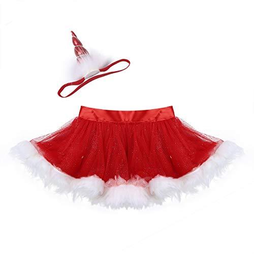 iiniim Bébé Enfant Fille Costume de Père de Noël Jupe Courte Tulle Jupe de Danse Classique Tutu et Licorne Bandeau Cheveux Vêtements de Noël Fête Halloween Robe 1-4 Ans Rouge 18-24 Mois