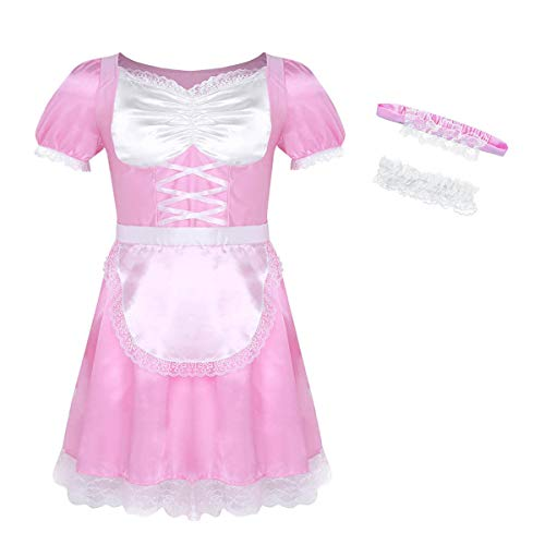 inlzdz Herren Sissy Kleider Zimmermädchen Dienstmädchen Kostüm Männer Unterwäsche Maid Kostüm Cosplay Dessous-Crossdresser Schlafanzug Reizwäsche Rosa 2XL
