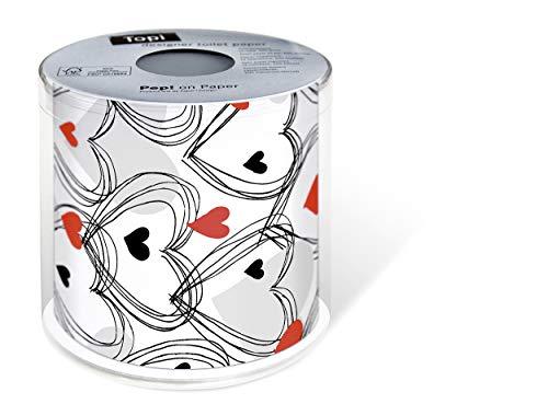 1 Toilettenpapier Herzen rot schwarz Hochzeit Liebe
