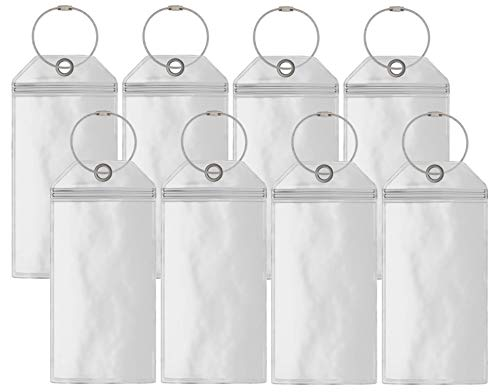 Cruise Luggage Tag Holders Large (8 Pack) Clear Waterproof PVC Tag Holder with Zip Seal & Steel Loops - Travel Vacation Accessories - Cruise Necessities - Carnival - Princess Cruises - P&0 - MSC