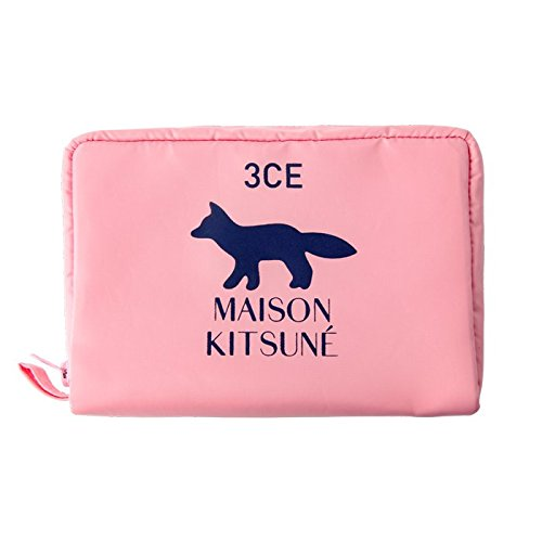3CE MAISON KITSUNE POUCH #PINK/ 3CE メゾンキツネ ポーチ [並行輸入品]