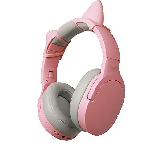 Bluetooth Estéreo Auriculares Música Sonido de alta fidelidad, Bluetooth Banda para la cabeza plegable con micrófono y cable de 3.5MM audio, Diseño de oreja de gato desmontable, para TV Phone PC