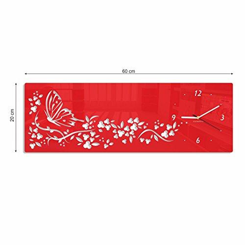 FLEXISTYLE Orologio da Parete Moderno Orizzontale Farfalla in Fiori 20 x 60 cm Rosso Salotto Decorativo Silenzioso 3 d