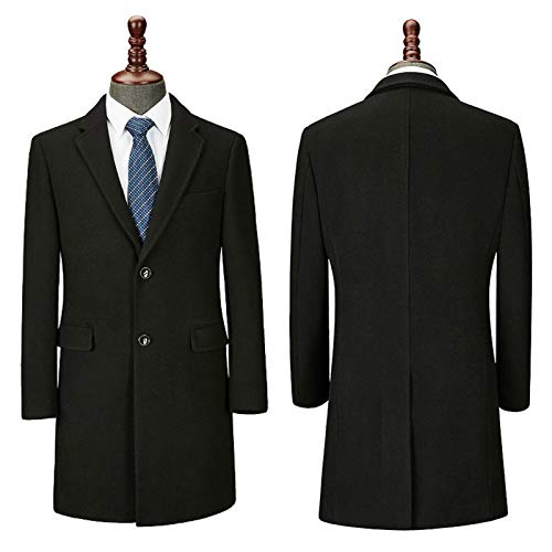 PUPPYY Männer Overcoat Wolle & Kaschmir Covert warme Winter-Mod Mantel Samtkragen Black-M
