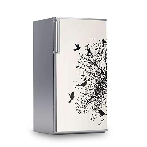 creatisto Kühlschrank Designfolie I Dekosticker für Kühlschrankfront - Sticker Aufkleber selbstklebend I Tattoo Küche - Design: Tree and Birds 2