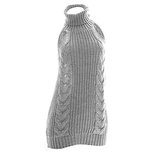 YOMORIO Womens Anime Virgin Killer Sweater Japanese Turtleneck Knitted Underwear Backless Pullover (Grey)