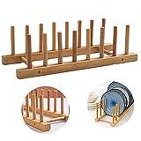 Platos de Bambú Desagüe Estantes Portavasos y Porta de Secado Cocina Soporte Plato Madera Bambú Estante Goteo de Madera para Almacenar Platos, tazones y Tazas Enteros para drenar el Agua - 7 Ranuras