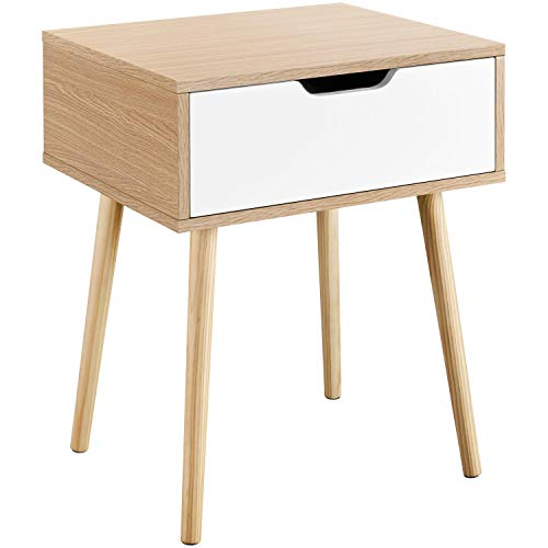 YAHEETECH End Side Table Nightstands with Storage Drawer Solid Wood Legs Living Room Bedroom 22.6in H