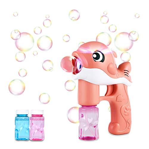 Pistola de Pompas de Jabón Burbujas de Jabon Niños,LED Maquina Pompas Jabon Con 2 Botellas Pompas de Jabón, Juguete de Baño Pomperos para Niños 3 - 12 Años Regalos Cumpleaños Burbujas Jardin (Rosa)