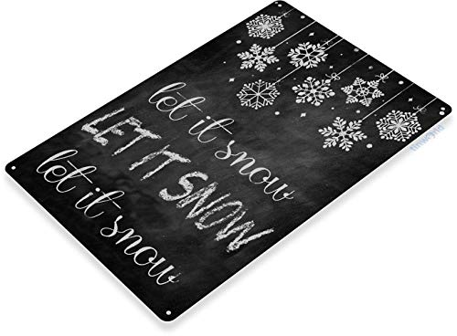 9Ginkgo& TIN Sign Let it Snow Christmas Art Holiday Decoration Chalkboard Metal Decor 8x12 Inch