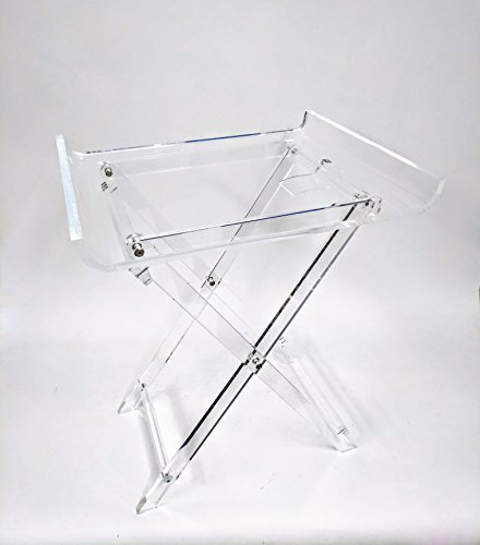 Designstyles Acrylic Folding Tray Table – Modern Chic Accent Desk - Kitchen and Bar Serving Table - Elegant Clear Design