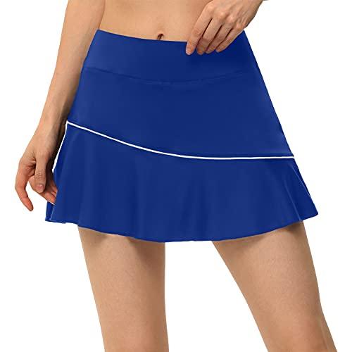 Maeau - Falda Pantalón Mujer Deportiva Tenis Cintura Alta Falda Mujer Golf 2 en 1 Correr Secado Rápido Falda Padel Mujer Yoga Corto con Bolsillos Mini Faldas Mujer Fitness - Azul