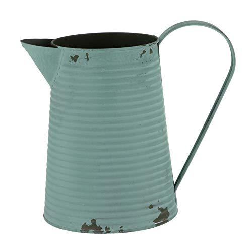 Cabilock Jarrón de hierro vintage para flores, estilo retro, con asa, decoración de jardín, para...