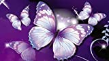 Kit de pintura de diamantes 5D por números,diy 5d diamond painting diseño de mariposa, color morado, cristales para manualidades kit bordado de punto de cruz, 40 x 30 cm