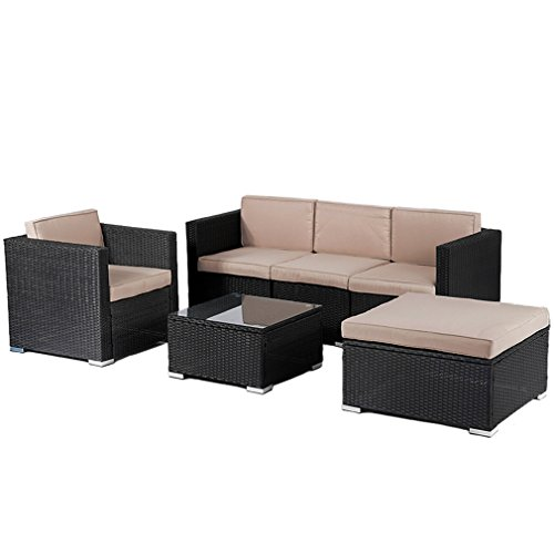 Patio Furniture Outdoor Wicker Rattan Garden Furniture Set 6pcs Sofa Conversation Set with Cushions and Tempered Glass Tabletop for Yard