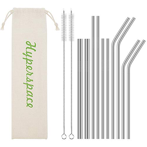 Stainless Steel Straw, Food Grade Reusable Metal Drinking Straw Set with 2 Cleaning Brushes and Carry Pouch for Smoothie, Milkshake, Cocktail and Hot Drinks