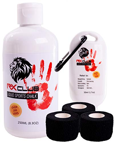 RxClub Liquid Chalk Best for Crossfit (2-in-1 + Free Weightlifting Tape) 2 Bottles Combo of 250 & 50 ML- Improves Your Grip on The bar- Perfect for Crossfit,Climbing,Gymnastics,Deadlift More Sports