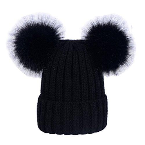 ECYC Filles Fourrure Pom Pom Bonnet Chapeau Tricoté Extensible Bonnet Thermique Hiver Chaud, Noir
