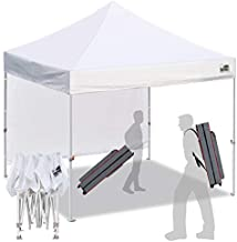 Eurmax Smart 10'x10' Pop up Canopy Tent Sport event,Outdoor Festival Tailgate Event Vendor Craft Show Canopy Instant Shelter with 1 Removable Sunwall and Backpack Roller Bag(White)