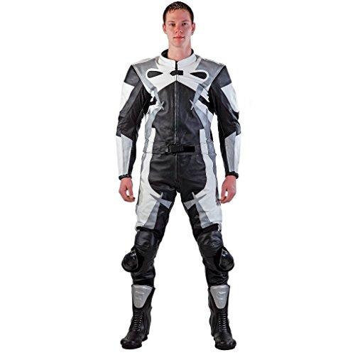 Lemoko - Completo da motociclista in pelle, 2 pz, colore nero/bianco/argento, taglie S - 5XL