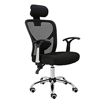 HOMEFUN Ergonomic Mesh Office Chair, Adjustable Computer Desk Chair with Headrest Comfortable Backrest Task Chair Swivel Rolling Chair, Black by