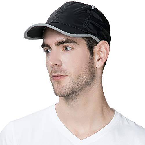 Comhats Schnell-trocknend Baseball Sonnen Sport Cap mit UV SPF 50 +Schutz schwarz