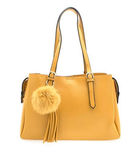 Bolso amarillo mostaza con asas de hombro