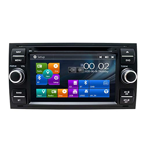 Radio de coche estéreo para Ford Focus Fusion Transit Fiesta Galaxy Navegador GPS de 7 pulgadas Unidad principal de doble Din Soporte USB SD FM AM RDS Video Bluetooth SWC Reproductor de CD y DVD (Bla