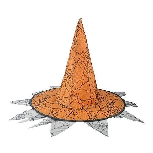 Sombrero de Bruja para Mujer Adulta de Dos Pisos para Accesorios de Disfraces de Halloween Tocado de Sombrero de Bruja Lateral de Encaje