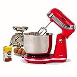 Robot de cocina con bol de acero inoxidable, 3 litros, amasadora, amasadora (250 W, 6 niveles, varillas, gancho para amasar, botón de expulsión, rojo)