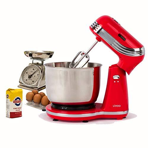 Küchenmaschine mit Edelstahl-Rührschüssel 3 Liter Knetmaschine Rührmaschine (250 Watt, 6 Stufen, Rührbesen,Knethaken, Auswurftaste, Rot)