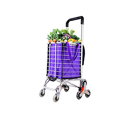 DZX Hand Trucks Folding shopping cart, stair shopping cart can bear 80KG, light trolley, rolling eight rounds, suitable for laundry, groceries, camping and sports activities, silver hand truck