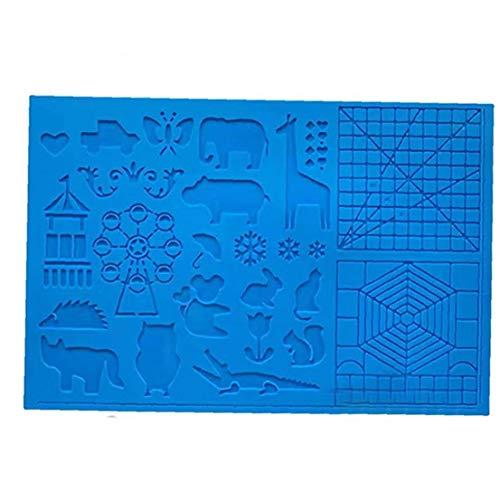 Berrywho Silikon-Zeichenbrett 3D Pen Mat 3D Pen Stencils Buch 3D-Pen Zeichenwerkzeuge Blau