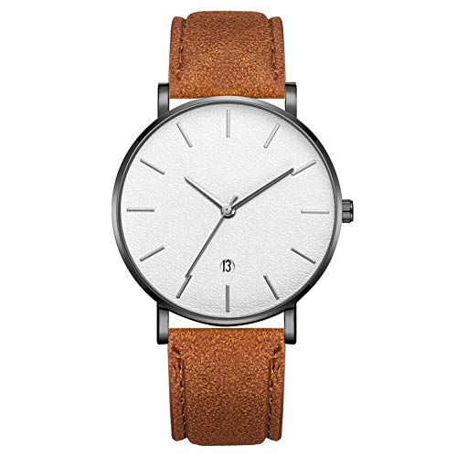 Reloj de pulsera de cuarzo analógico de esfera redonda de moda para hombres reloj de hombre (correa de café caja negra espejo blanco aguja plateada)