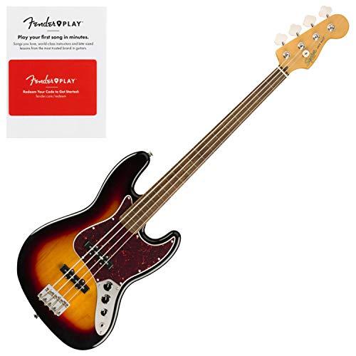 Squier 0374531500 Classic Vibe 60s Jazz Bass Fretless, Laurel Fingerboard, 3 Col