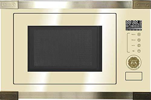 Kaiser EM 2545 Elf AD Einbau Multifunktions Mikrowelle,Elfenbein Glas,25L,Heißluft Grill,21 Funktionen,Mikrowelle zum Einbau,8 Sonderfunktionen, Kartoffel,Pizza, Kindersicherung,Einbaumikrowelle Retro