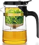 GAOYINMEI Tetera Filtro de Cristal del té de la máquina Totalmente Lavable con Tetera de Vidrio for Altas temperaturas Inicio Simple Juego de té automática Salud Modo inofensivas (Size : 550ml)