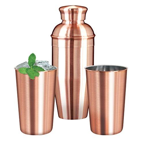 Oggi 26 oz Cocktail Shaker and 17 oz Tumblers (Set of 3), Copper