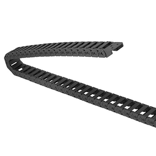 uxcell Drag Chain Cable Carrier Open Type with End Connectors 10X20mm 1 Meter Plastic for Electrical CNC Router Machines Black