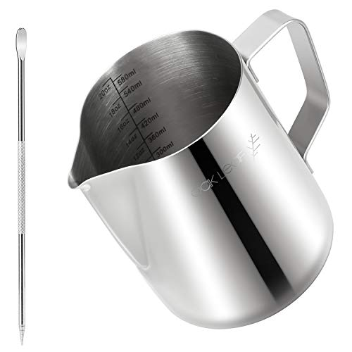 Oak Leaf Milk Frother Pitcher 20oz/600ml , Commercial Grade 18/8 Stainless Steel Milk Frothing Pitcher Expresso Pitcher with Latte Art Pen for Coffee Espresso Cappuccino & Latte