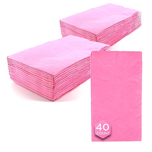 SparkSettings Big Party Pack Tableware 2 Ply Guest Towels Hand Napkins Paper Soft and Absorbent Decorative Hand Towels for Kitchen and Parties 40 Pieces New Pink