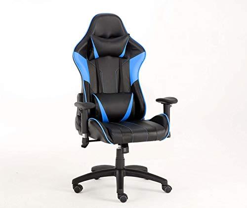 WV LeisureMaster, sedia ergonomica da gaming con poggiatesta e supporto lombare, sedia da lavoro girevole regolabile (New Blu)